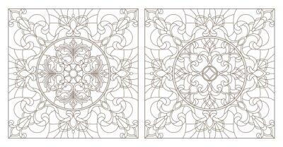 Vinilo Establecer las ilustraciones de contorno de vidrieras con remolinos abstractos y flores, imagen cuadrada