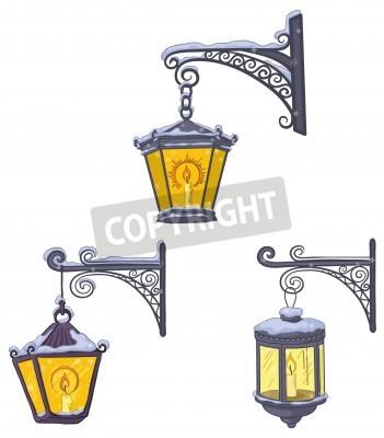 Vinilo Establecer linternas luminiscentes calle vendimia cubiertas de nieve, colgando de una soportes decorativos. Vector