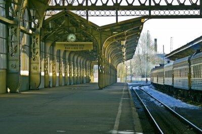 Vinilo Estación de tren, el reloj y