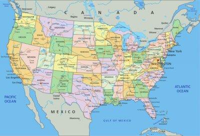 Vinilo Estados Unidos de América - Mapa muy detallado con etiquetado política editable.