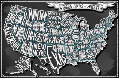 Vinilo Estados Unidos de América sobre la vendimia Escritura Pizarra
