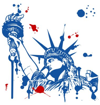 Vinilo estatua de la libertad con la antorcha con el goteo de tinta