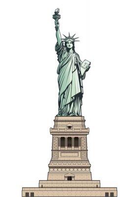 Vinilo Estatua de la Libertad en su pedestal base. Ilustración vectorial