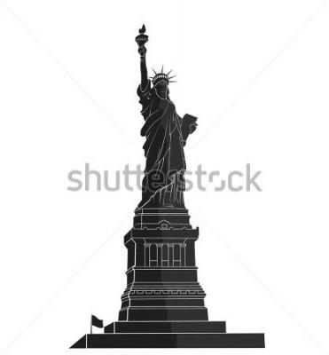 Vinilo Estatua de la Libertad. Hito de nueva york. Simbolo americano silueta plana