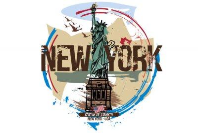 Vinilo Estatua de la libertad, Nueva York / Estados Unidos. Diseño de la ciudad Dibujado a mano ilustración.