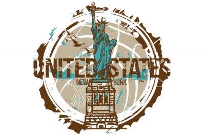 Vinilo Estatua de la libertad, Nueva York / Estados Unidos. Diseño de la ciudad. Dibujado a mano ilustración.