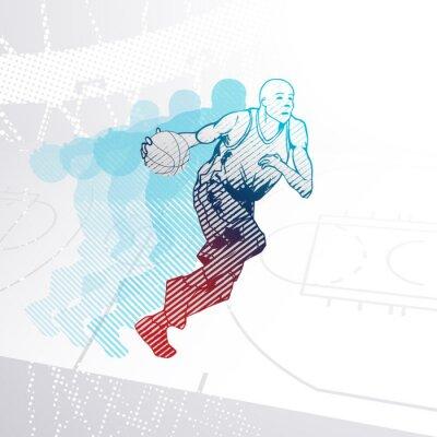 Vinilo Estilizado, baloncesto, jugador, driblar, pelota