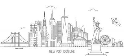 Vinilo Estilo de arte de línea de horizonte de Nueva York