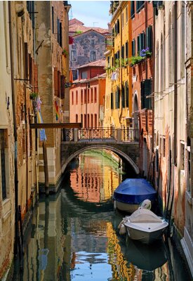 Vinilo Estrecho, canal, calle, Venecia, italia