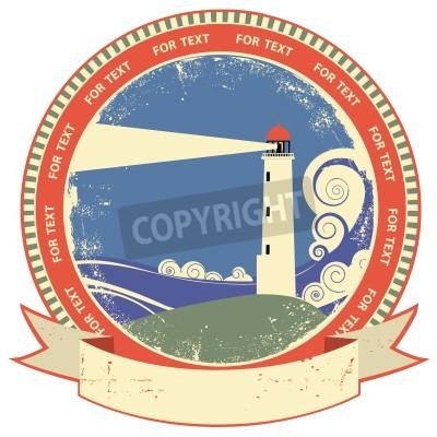Vinilo Etiqueta symbol.Vintage Faro en textura de papel viejo