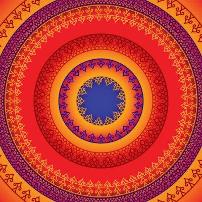 Vinilo Étnico y colorido diseño de la alheña Mandala, muy elaborado y fácilmente editable