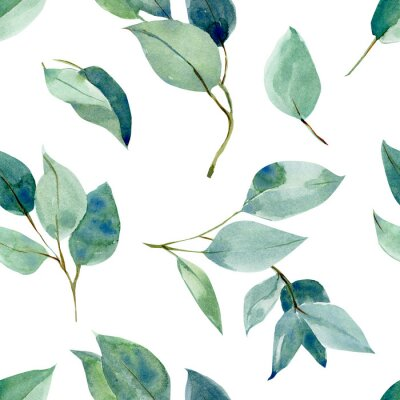Vinilo eucalyptus leaves, seamless pattern, watercolor tropical leaves on isolated white background, digital paper