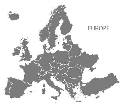 Vinilo Europa con los países Mapa gris