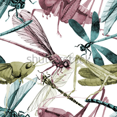 Vinilo Exotic crickets  wild insect in a watercolor style pattern. Full name of the insect: crickets, grasshoppers . Aquarelle wild insect for background, texture, wrapper pattern or tattoo.