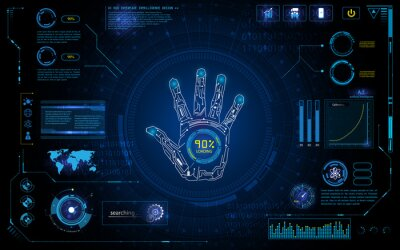 Vinilo Exploración futurista de la mano identifican con el interfaz del elemento del hud pantalla monitor plantilla del fondo del diseño