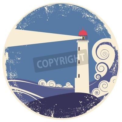 Vinilo faro en la ilustración landscape.vintage mar en el papel viejo