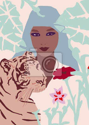 Vinilo fashion girl with tiger illustration African American