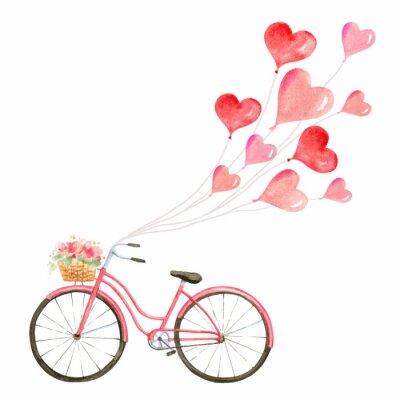 Vinilo Feliz día de San Valentín acuarela ilustración vectorial.