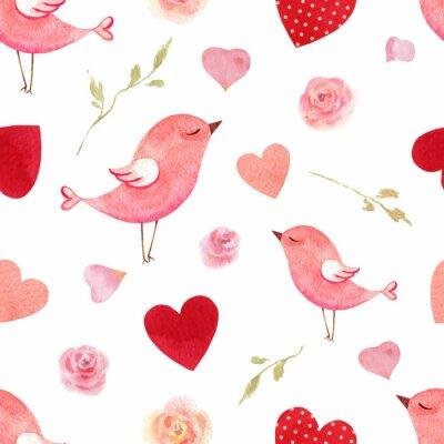 Vinilo Feliz día de San Valentín acuarela vector de patrones sin fisuras.