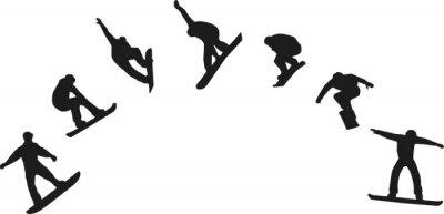 Vinilo Fila de siluetas de snowboard saltando