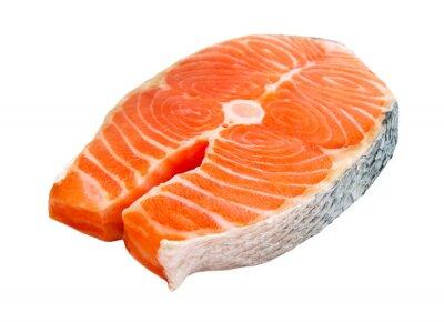 Vinilo Filete de salmón aislado en el fondo blanco