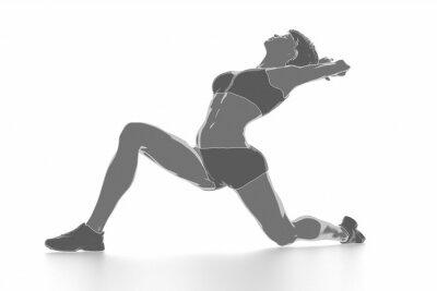 Vinilo Fitness mujer estirando en blanco aislado - concepto de calentamiento