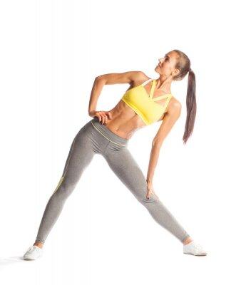 Vinilo Fitness mujer haciendo ejercicio, sonriendo y mirando hacia arriba aislados en fondo blanco