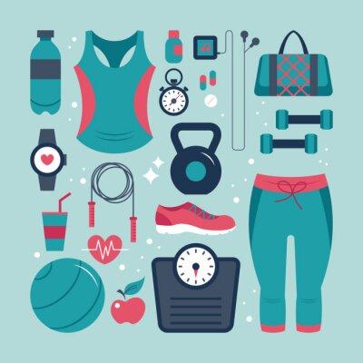 Vinilo Fitness y salud iconos planos establecidos