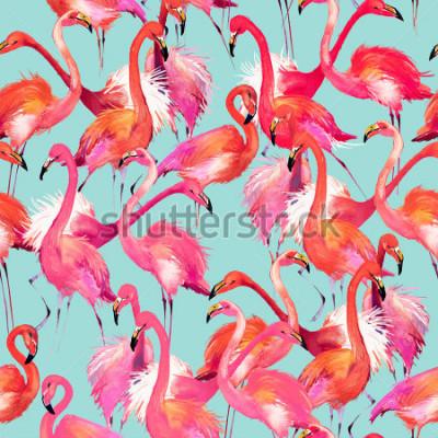 Vinilo flamingo birds seamless background. Watercolor tropical nature pattern.