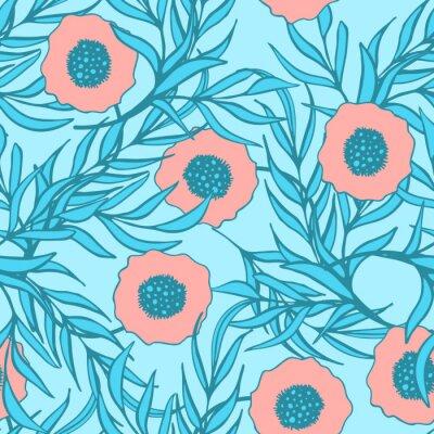 Vinilo Flor de amapola vector patrón transparente. Impresión floral tejida mano de la tela de la tinta del doodle.