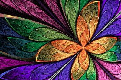 Vinilo Flor multicolora hermosa del fractal o mariposa en gl