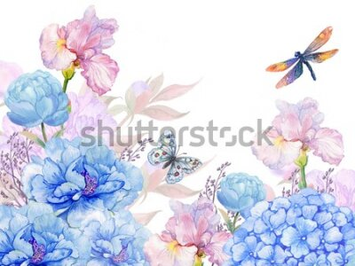 Vinilo floral background .illustration of watercolor. flowers peonies, irises, hydrangeas,butterflies and dragonflies . postcard floral pattern