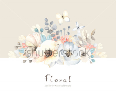 Vinilo Floral card with flowers, leaves, branches and butterfies in vintage watercolor style. Holiday template for your text, vector illustration on beige and white background.