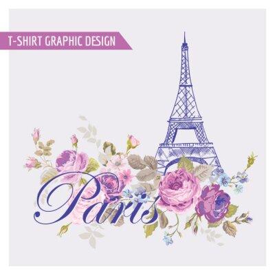 Vinilo Floral de París Diseño Gráfico - para la camiseta, la moda, impresiones
