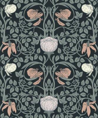 Vinilo Floral vintage de patrones sin fisuras para fondos de pantalla retro. Flores Vintage Encantadas. Movimiento de Artes y oficios inspirado.