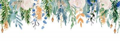 Vinilo Floral winter seamless border illustration. Christmas Decoration Print Design Template