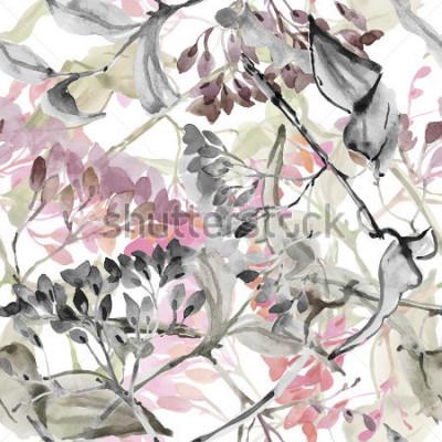 Vinilo Flores abstractas Acuarela de patrones sin fibras.