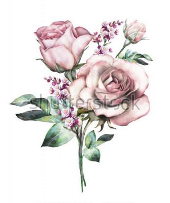 Vinilo flores de acuarela. Ilustración floral, flor en colores pastel, rosa rosa. Rama de las flores afectadas en el fondo blanco. Hoja y brotes. Linda composición para boda o tarjeta de felicitación. ramo d