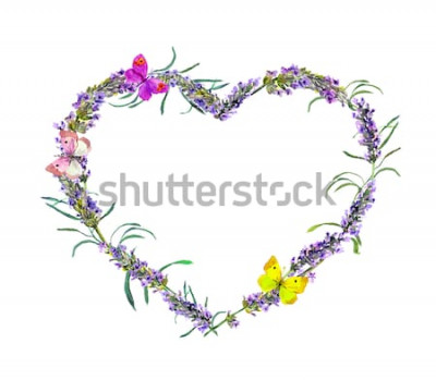 Vinilo Flores de lavanda y mariposas. Marco de corazón floral acuarela para el día de San Valentín, boda
