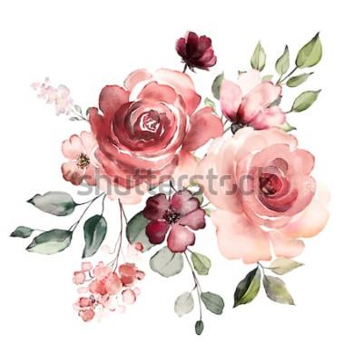 Vinilo flores decorativas de acuarela. Ilustración floral, hojas y capullos. Composición botánica para boda o tarjeta de felicitación. Rama de flores - abstracción rosas, romántica.