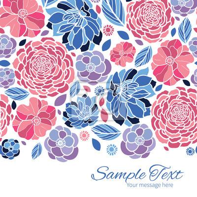 Flores vector mosaico plantilla de tarjeta de borde horizontal ...