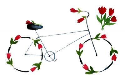 Vinilo Flower bike. Hand drawn watercolor illustration on paper. Black noir bike with red roses, poppies with green leaves. Romantic love. Isolated on white background