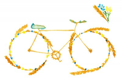 Vinilo Flower spring summer bike. Hand drawn watercolor illustration on paper.  Yellow bicycle with meadow flowers blue and ears of cereal: wheat, rye. Isolated on white background
