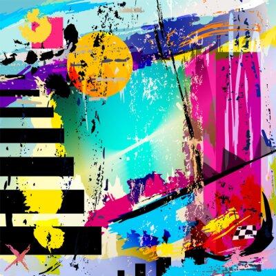 Vinilo fondo abstracto, con cuadrados, triángulos, trazos de pintura y