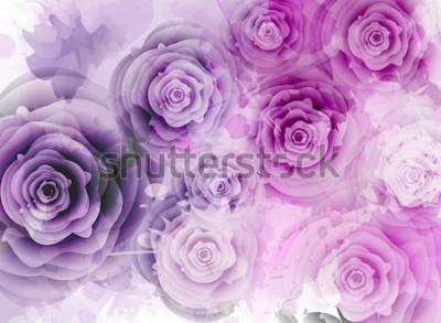 Vinilo Fondo abstracto con rosas y elementos splash grunge