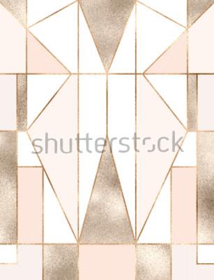 Vinilo Fondo art deco con brillo dorado con formas geométricas, triángulos, rectángulos, líneas, cuadrados.