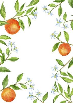 Vinilo Fondo con ramas de árboles frutales, flores, hojas y naranjas