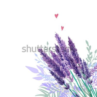 Vinilo Fondo de acuarela ramo de lavanda. Marco con plantas vintage pintadas a mano, decoración floral y corazones. Ilustración vectorial