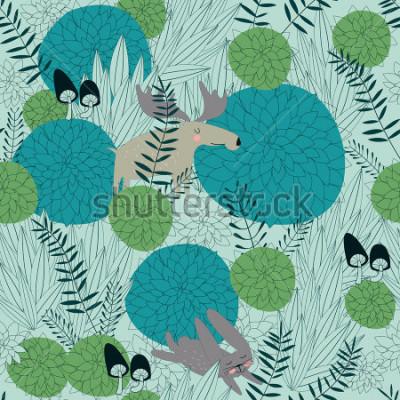 Vinilo Fondo de bosque del bosque con las plantas, los alces, las liebres y las setas lindos del bosque en estilo de la historieta.
