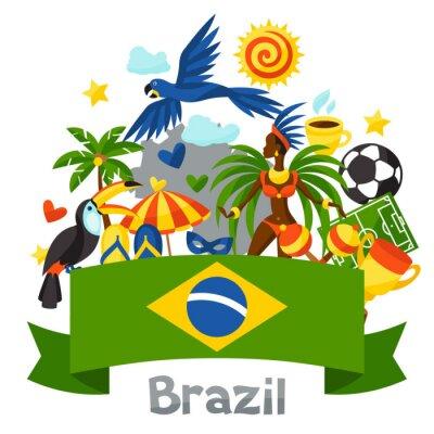 Vinilo Fondo de Brasil con objetos estilizados y símbolos culturales